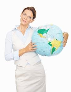 woman holding globe – 2